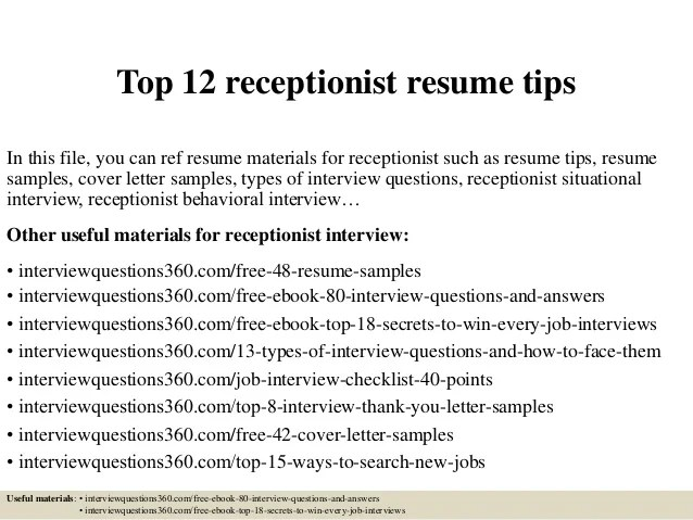 receptionist objective resume top receptionist resume tips choose