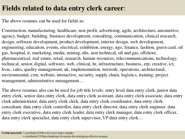 Data Entry Clerk Resume No Experience. top 5 data entry clerk cover ...