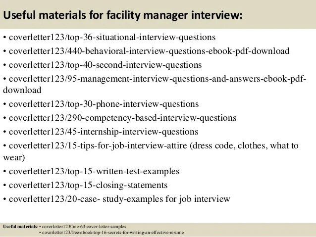 facility management cover letter
