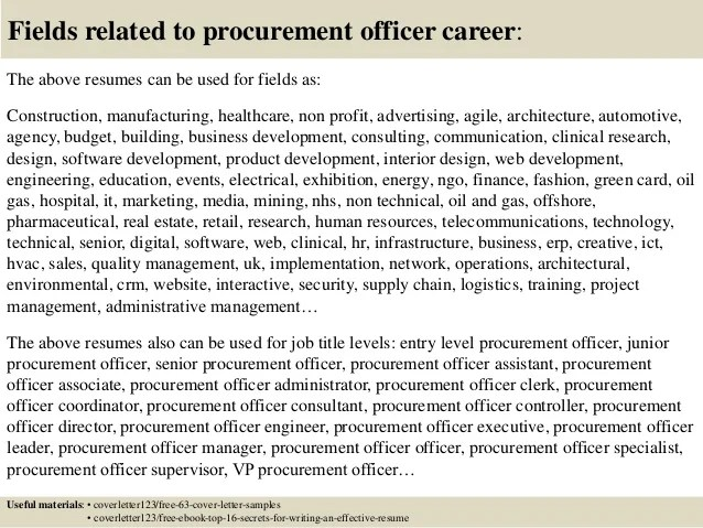 Purchase Procurement Officer Resume