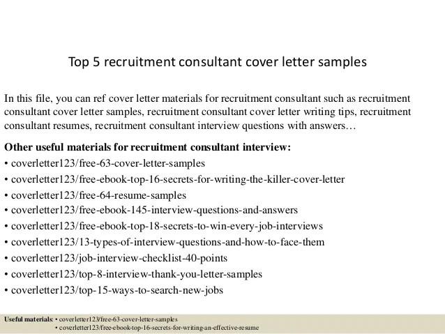 Cover Letter For Recruitment Consultant Job Sample ...