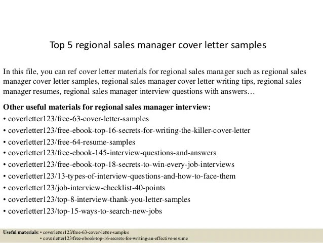 Top 5 Regional Sales Manager Cover Letter Samples