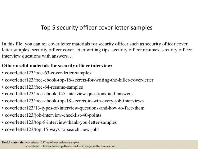 Resume Cover Letter For Security Officer | Newsinvitation.co
