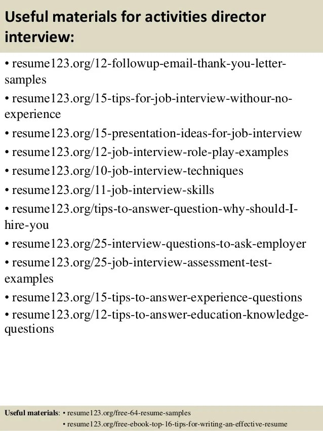 Activities Director Resume Sample Quotes Success