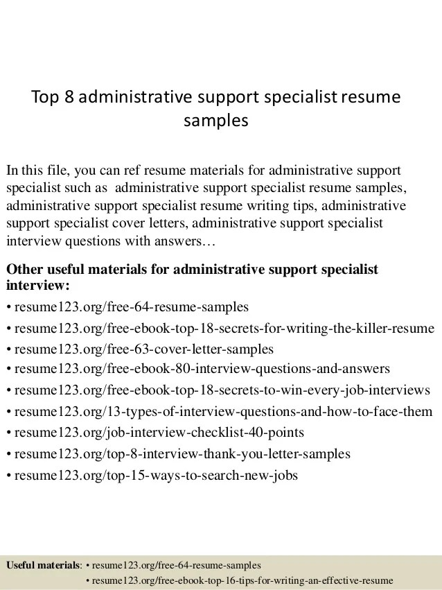 Top 8 Administrative Support Specialist Resume Samples Sales Manager 3 Cover Letter