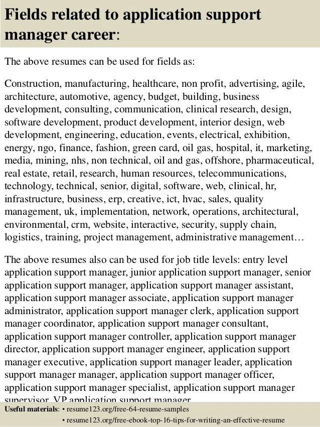 Resume sales support manager