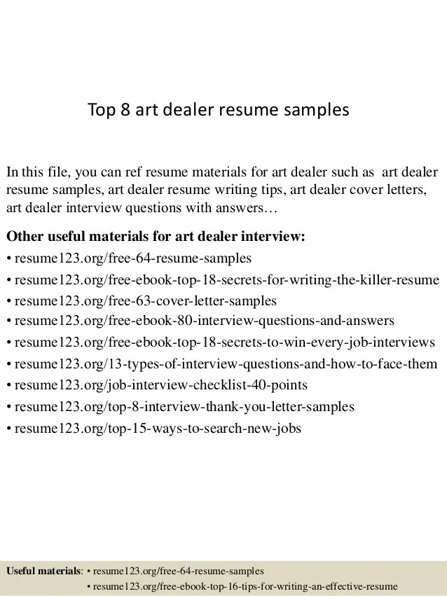 top 8 art dealer resume samples