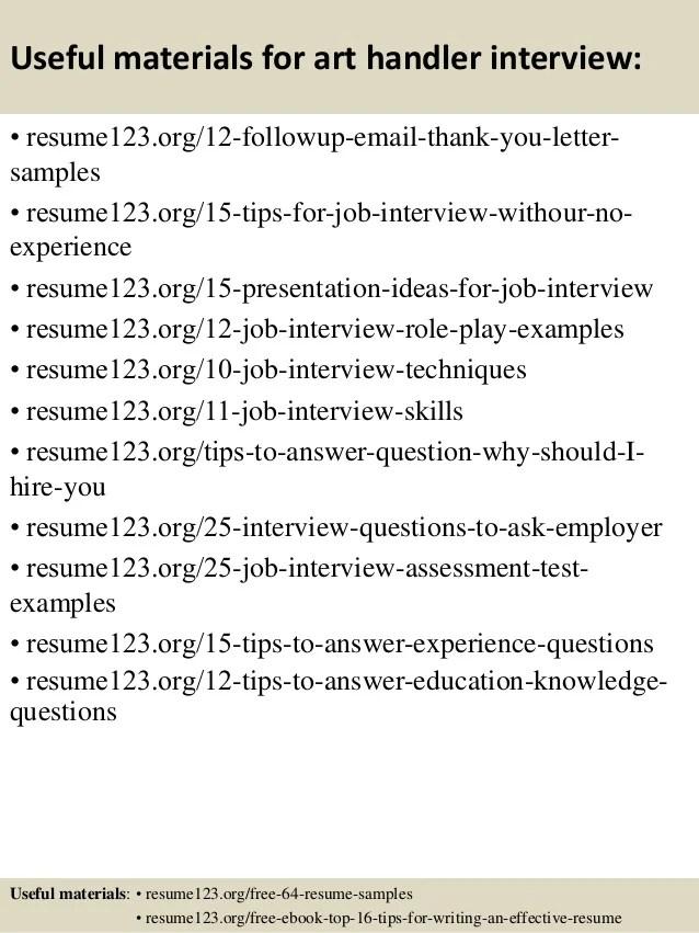 top 8 art handler resume samples