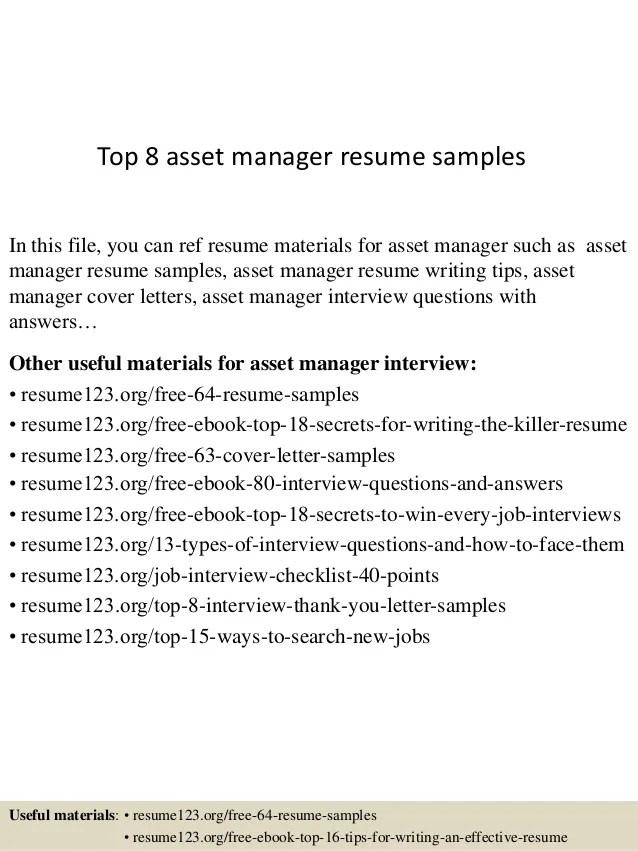 asset manager resume management management resume format asset
