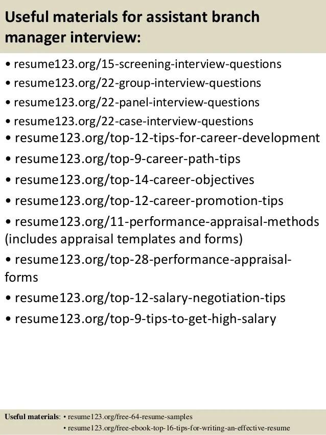 Assistant Branch Manager Resume Sample