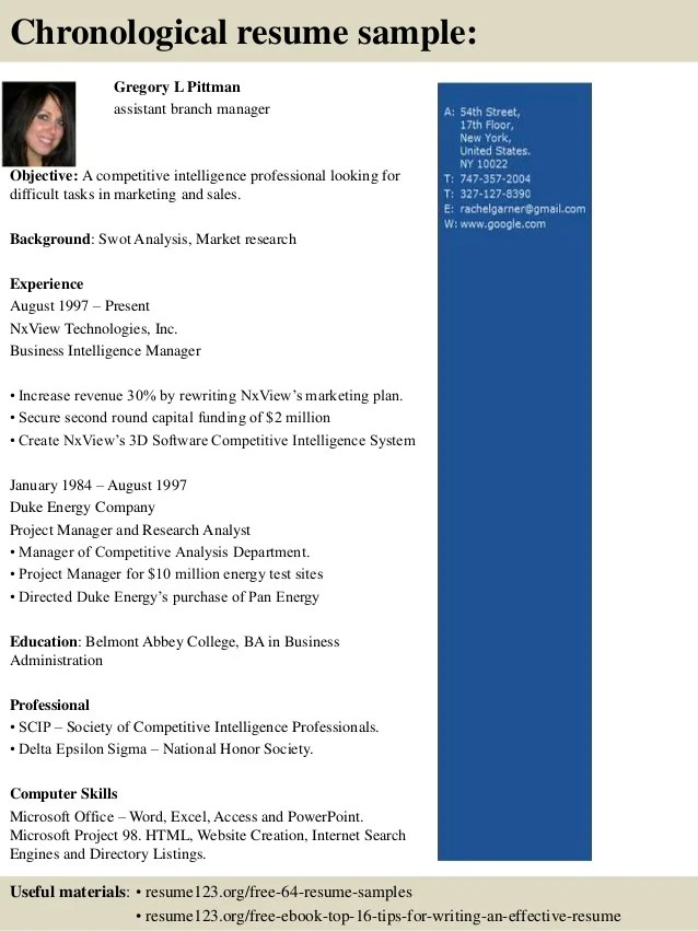 top 8 assistant branch manager resume samples