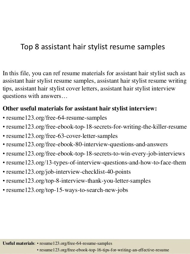 Hair Stylist Resumes Samples. Cv For Personal Services Livecareer