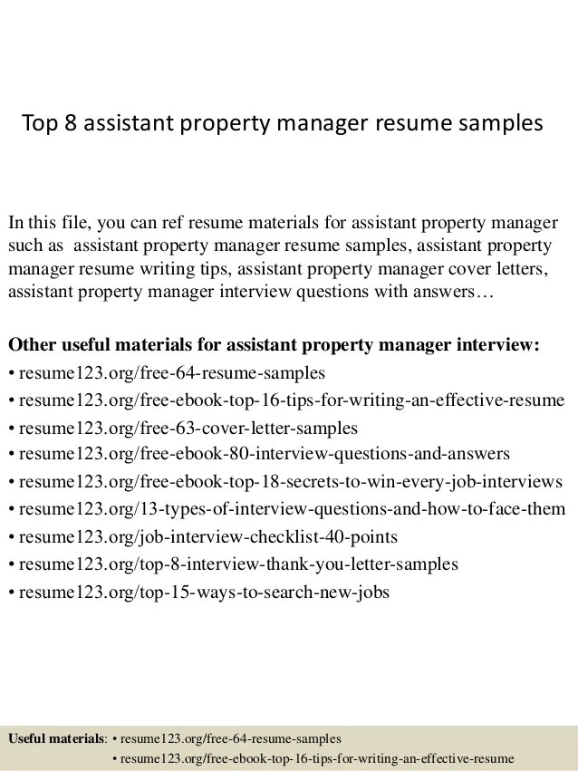 assistant property manager Resume Example, Assistant Property ...