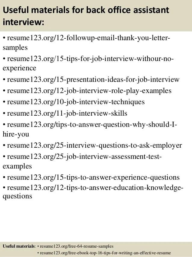 Back Office Resume Format