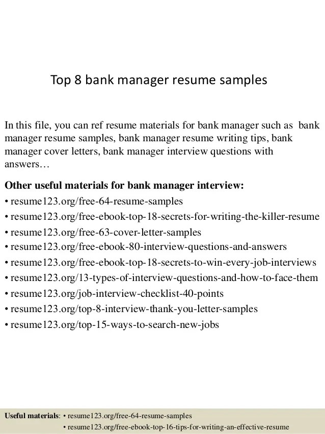 top 8 bank manager resume samples