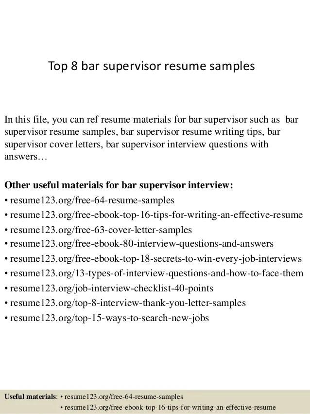 Bar Resume Sample. Resume Examples Resume Sample Restaurant