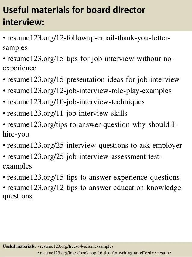 Board Cafe, Job Description For Executive Director.