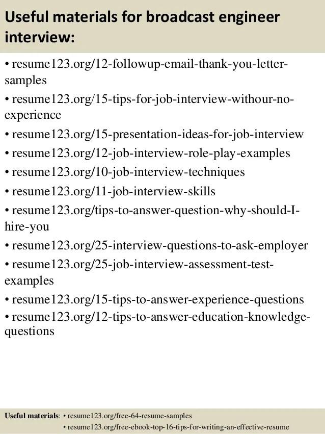 top 8 broadcast engineer resume samples