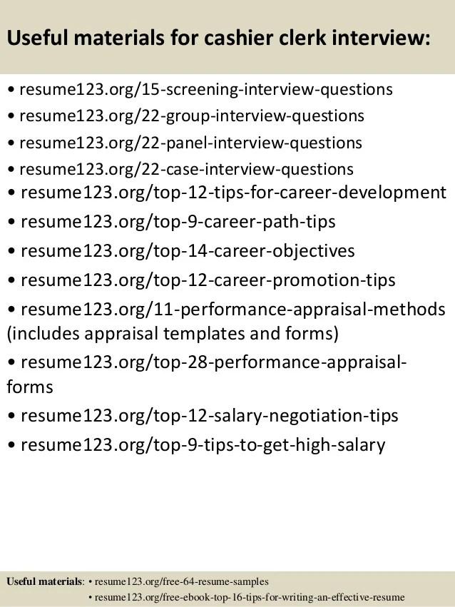 Sample Resume For Cashier Clerk Top 8 Samples