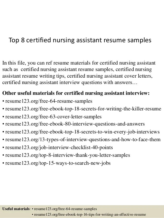 Nursing Assistant Resume Samples. The Perfect Certified Health