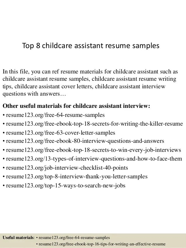 Child Care Resume Examples Within Child Care Resume  Child Care Assistant Resume