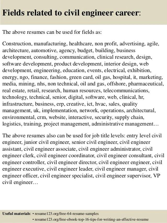 top 8 civil engineer resume samples