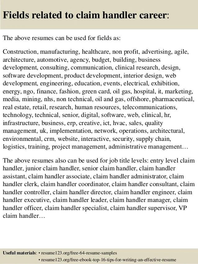 top 8 claim handler resume samples