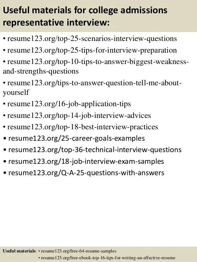 Top 8 College Admissions Representative Resume Samples