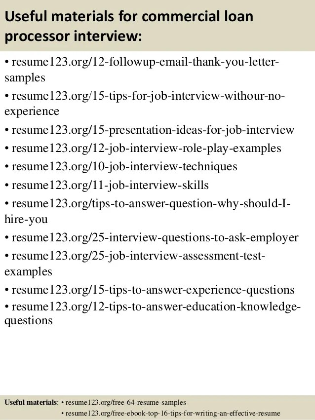 top 8 commercial loan processor resume samples