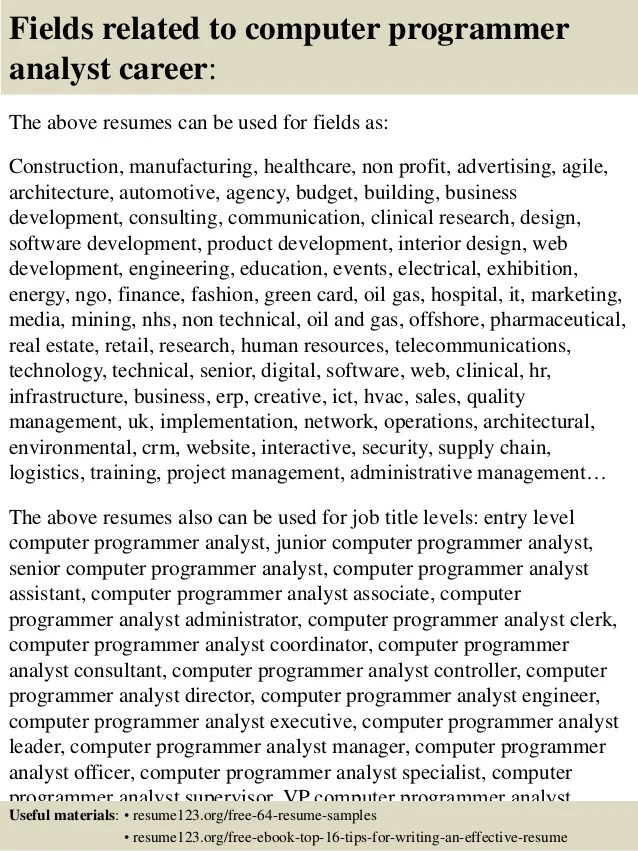 Top 8 Computer Programmer Analyst Resume Samples