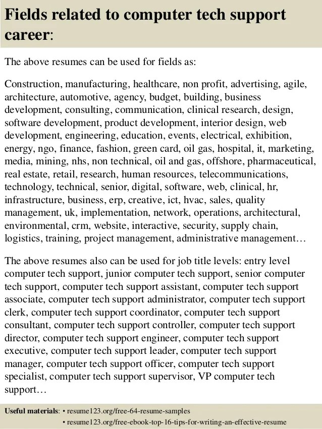 top 8 computer tech support resume samples
