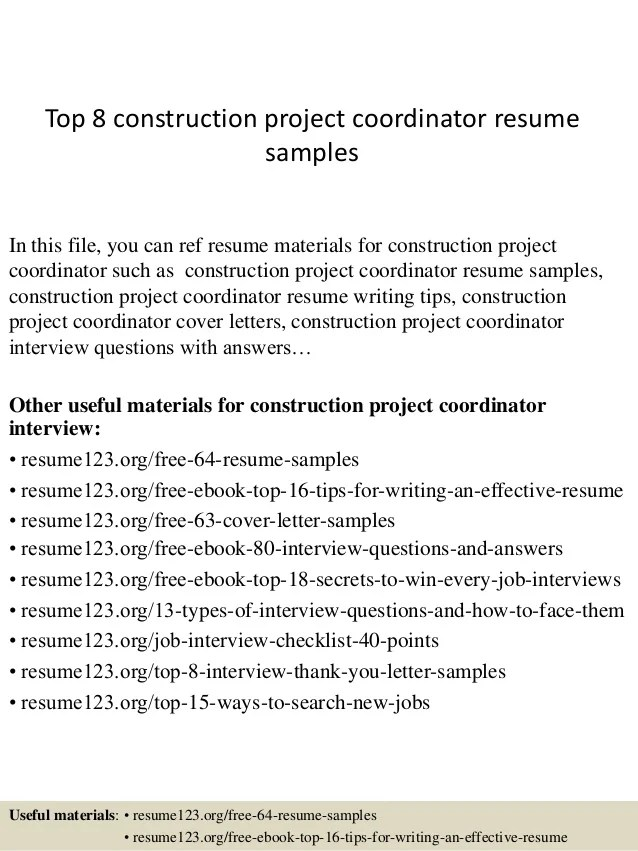 top 8 construction project coordinator resume samples in this file