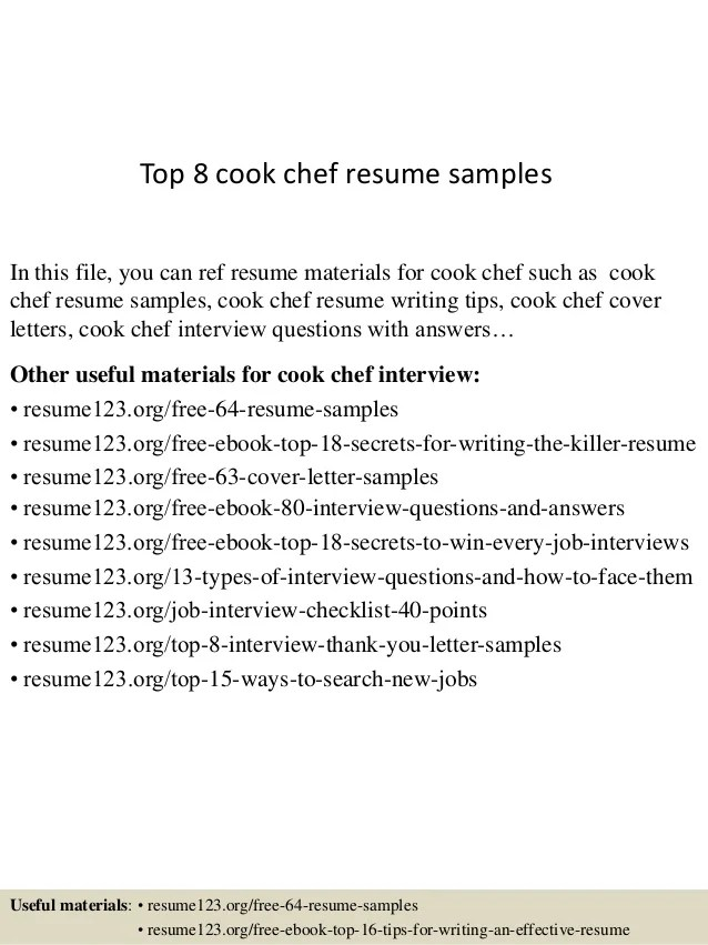 top 8 cook chef resume samplesin this file you can ref resume