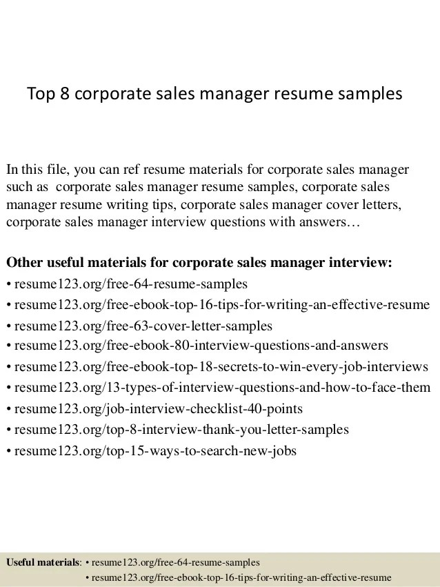 Corporate Sales Manager Resume. Corporate Sales Resume Examples
