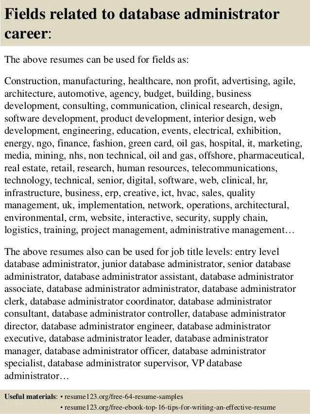 sample database administrator resume - Database Administrator Resume