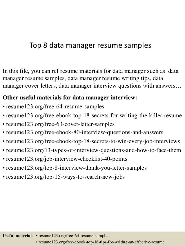 data management resume data center manager resume master data