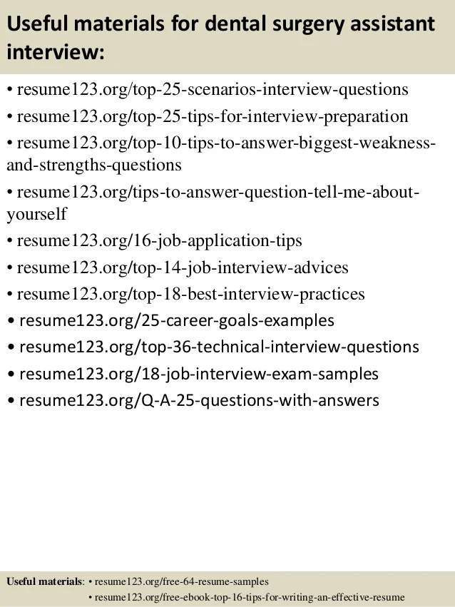 top 8 dental surgery assistant resume samples