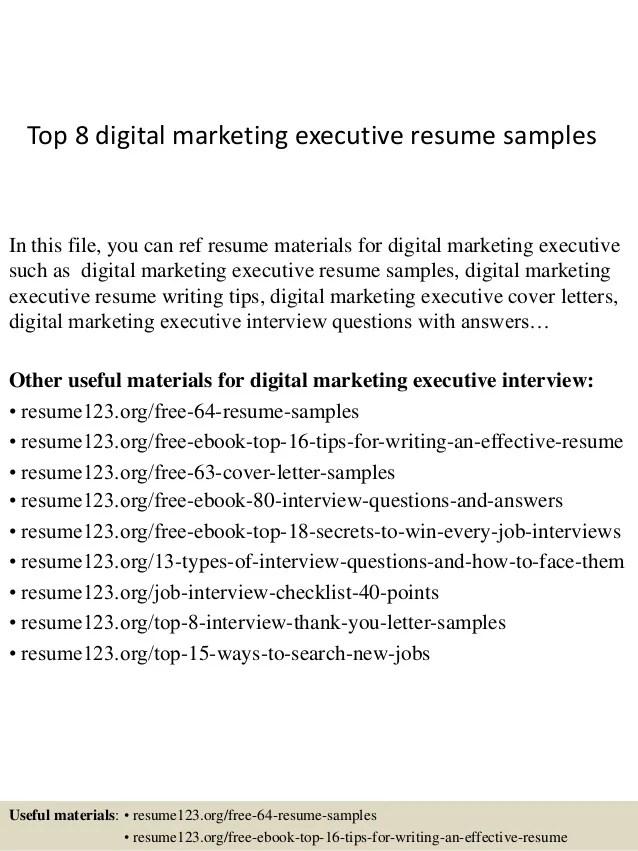 top 8 digital marketing executive resume samples