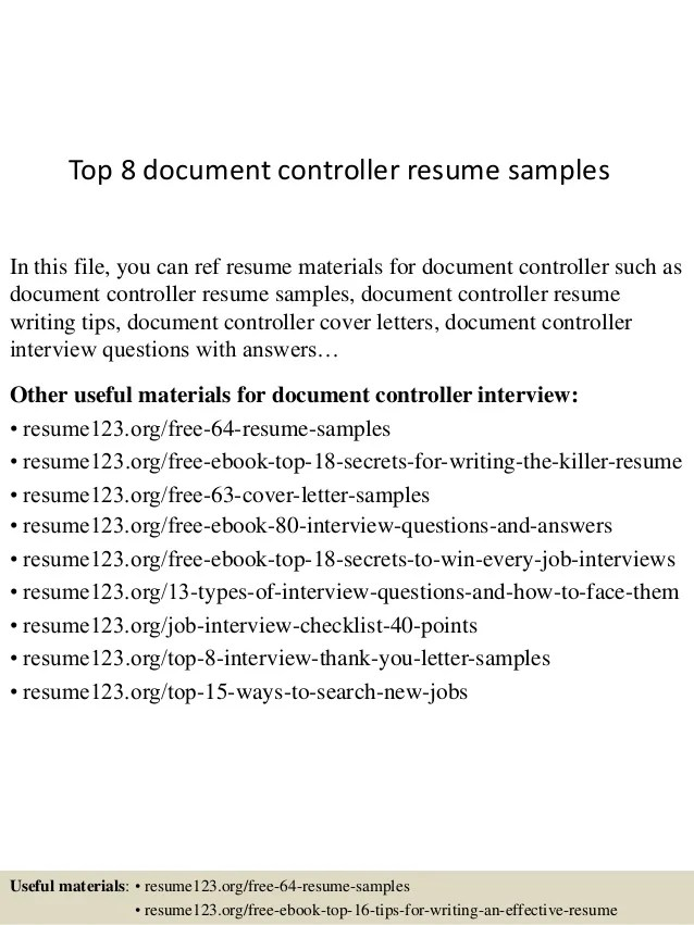 Document Resume. Controller Sample Resume Document Control Of Sr