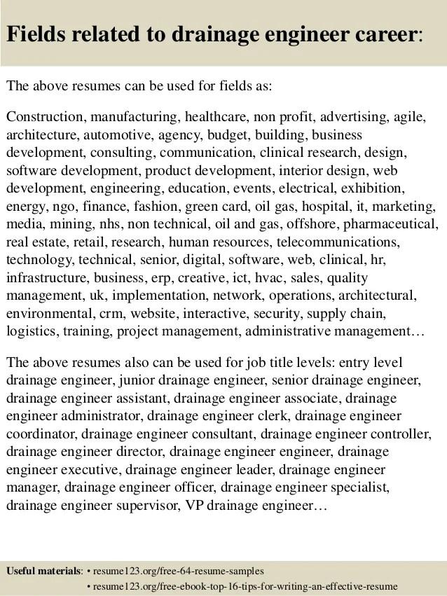 Top 8 Drainage Engineer Resume Samples