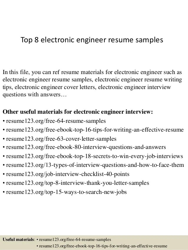 top 8 electronic engineer resume samples