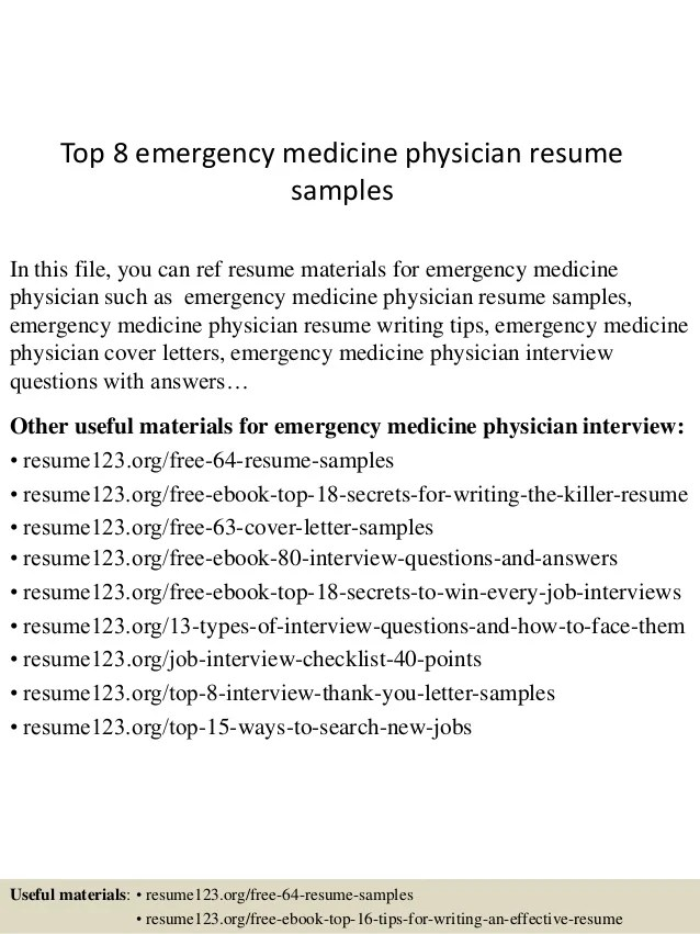 top 8 emergency medicine physician resume samples
