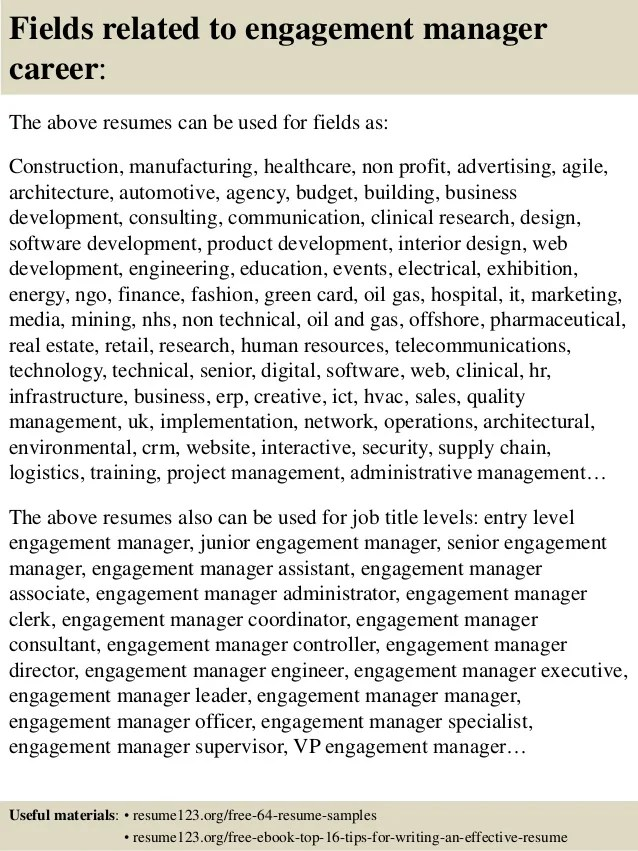 top 8 engagement manager resume samples