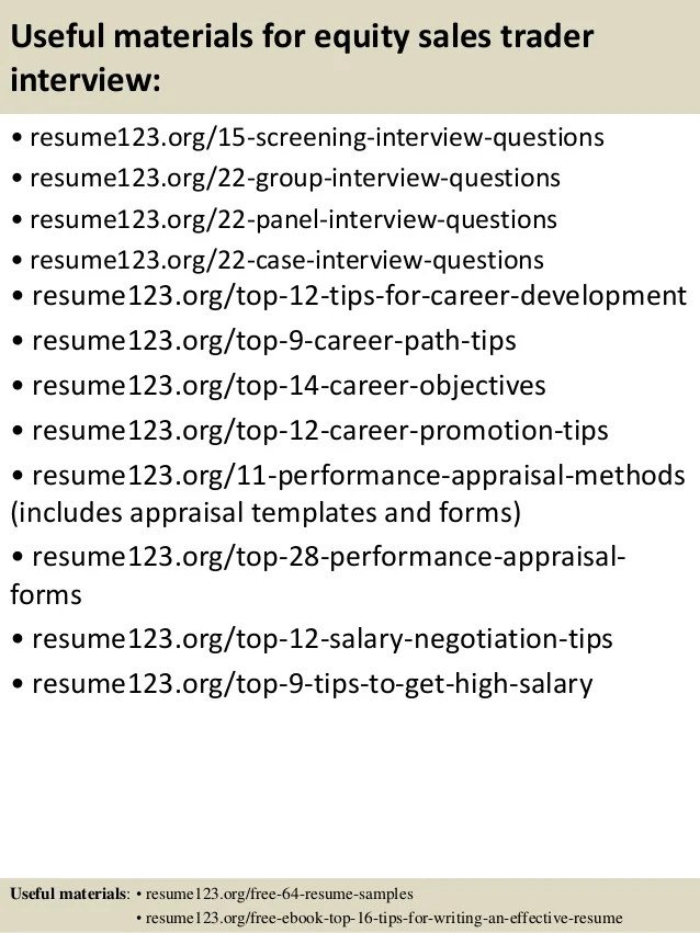 Buy side equity trader resume