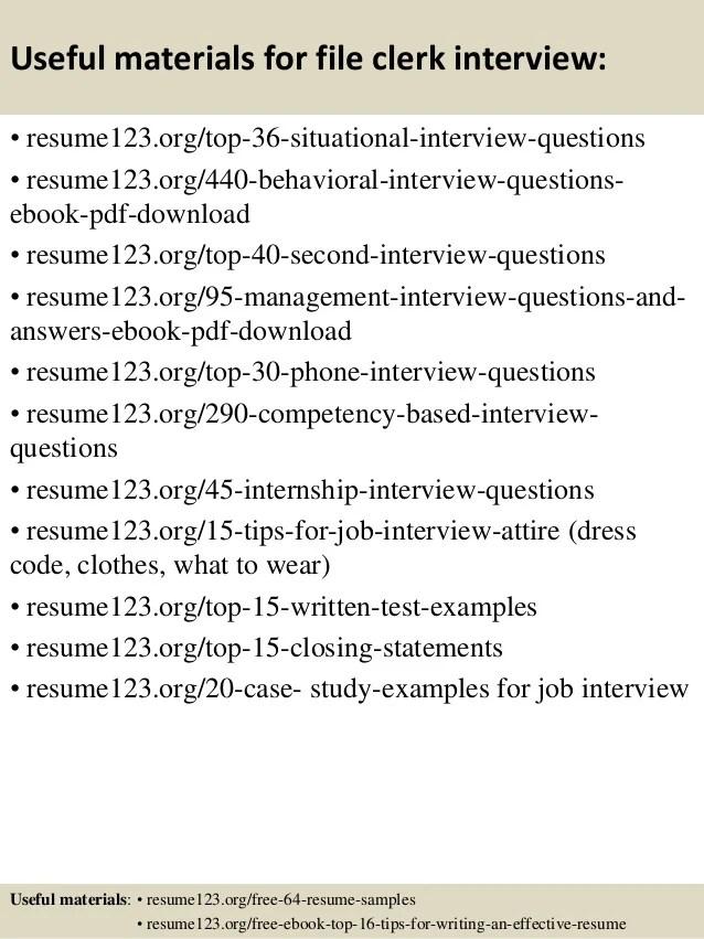Sample cover letter file clerk position