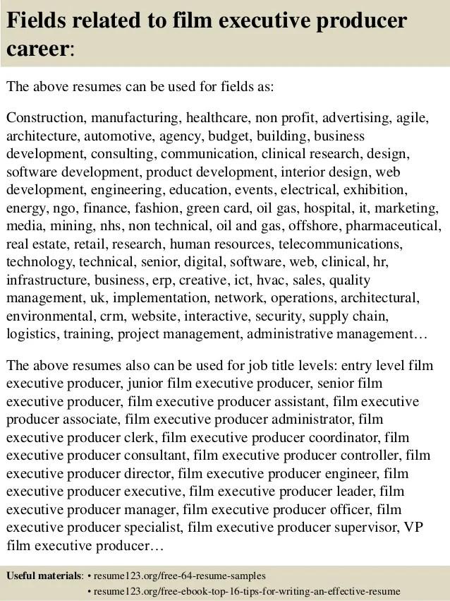 top 8 film executive producer resume samples