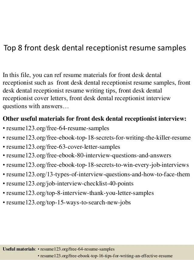 Dental Front Office Resume. Dental Office Receptionist Resume