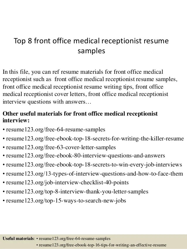 top 8 front office medical receptionist resume samples exclusive – Receptionist Resume Templates