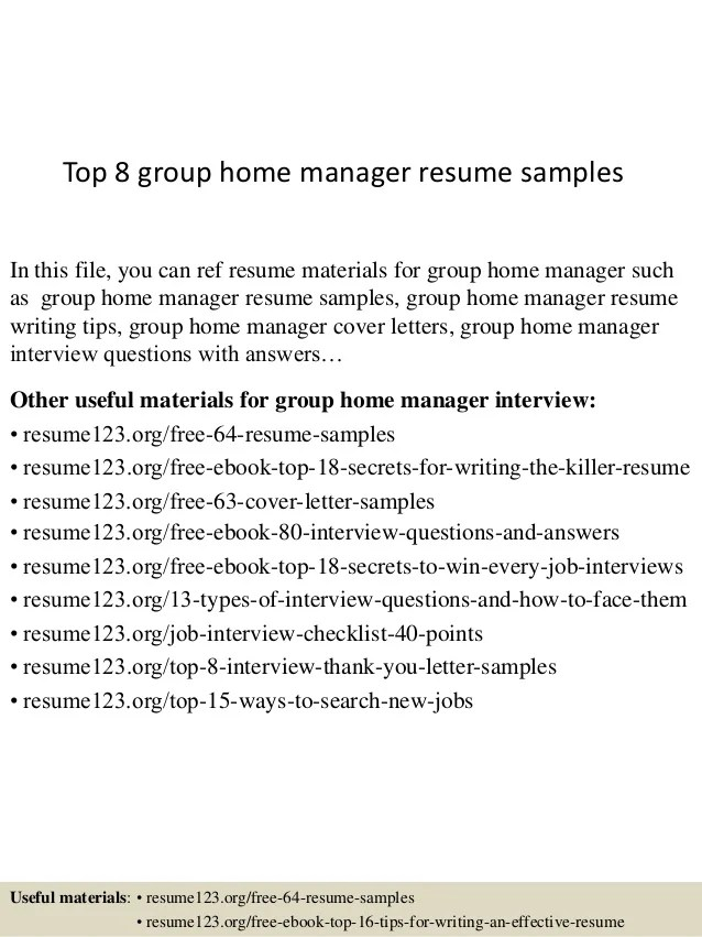 Group Example Home Resume