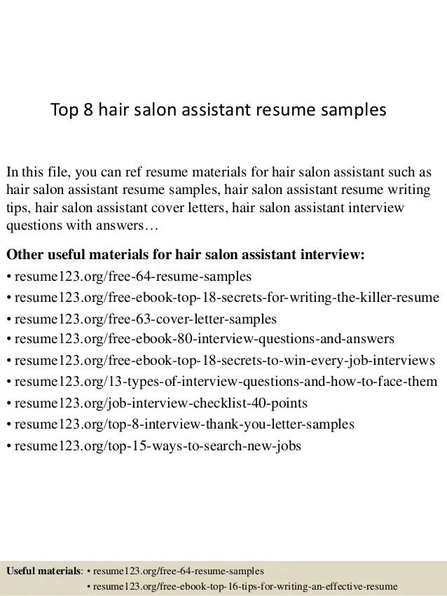 top 8 hair salon assistant resume samples